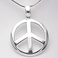 Silver peace sign pendant with 1mm snake chain.