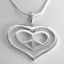 Sterling silver peace sign heart in a heart necklace.