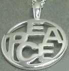 Sterling silver peace sign word PEACE charm necklace.