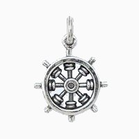 Silver ship wheel charm necklace.
